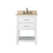 Avanity Brooks 25 in. Vanity in White Finish with Galala Beige Marble Top - BROOKS-VS24-WT-B
