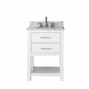 Avanity Brooks 25 in. Vanity in White Finish with Carrera White Marble Top - BROOKS-VS24-WT-C