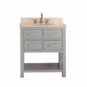 Avanity Brooks 31 in. Vanity in Chilled Gray Finish with Galala Beige Marble Top - BROOKS-VS30-CG-B