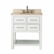 Avanity Brooks 31 in. Vanity in White Finish with Galala Beige Marble Top - BROOKS-VS30-WT-B