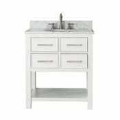 Avanity Brooks 31 in. Vanity in White Finish with Carrera White Marble Top - BROOKS-VS30-WT-C