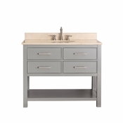 Avanity Brooks 43 in. Vanity in Chilled Gray Finish with Galala Beige Marble Top - BROOKS-VS42-CG-B