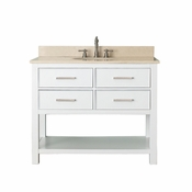 Avanity Brooks 43 in. Vanity in White Finish with Galala Beige Marble Top - BROOKS-VS42-WT-B