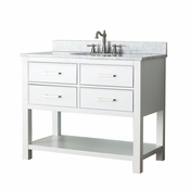 Avanity Brooks 43 in. Vanity in White Finish with Carrera White Marble Top - BROOKS-VS42-WT-C