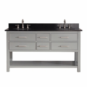Avanity Brooks 61 in. Double Vanity in Chilled Gray Finish with Black Granite Top - BROOKS-VS60-CG-A