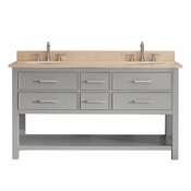 Avanity Brooks 61 in. Double Vanity in Chilled Gray Finish with Galala Beige Marble Top - BROOKS-VS60-CG-B