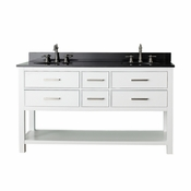 Avanity Brooks 61 in. Double Vanity in White Finish with Black Granite Top - BROOKS-VS60-WT-A