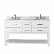 Avanity Brooks 61 in. Double Vanity in White Finish with Carrera White Marble Top - BROOKS-VS60-WT-C