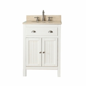 Avanity Hamilton 25 in. Vanity in French White Finish with Galala Beige Marble Top - HAMILTON-VS24-FW-B