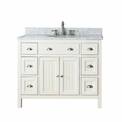Avanity Hamilton 43 in. Vanity in French White Finish with Carrera White Marble Top - HAMILTON-VS42-FW-C