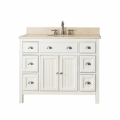 Avanity Hamilton 43 in. Vanity in French White Finish with Galala Beige Marble Top - HAMILTON-VS42-FW-B