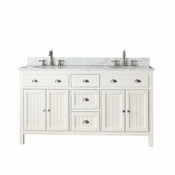 Avanity Hamilton 61 in. Double Vanity in French White Finish with Carrera White Marble Top - HAMILTON-VS60-FW-C