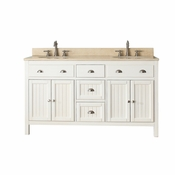 Avanity Hamilton 61 in. Double Vanity in French White Finish with Galala Beige Marble Top - HAMILTON-VS60-FW-B
