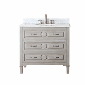 Avanity Kelly 37 in. Vanity in Grayish Blue Finish with Carrera White Marble Top - KELLY-VS36-GB-C