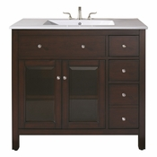 Avanity Lexington 37 in. Vanity in Light Espresso Finish with Integrated Vitreous China Top  - LEXINGTON-VS36-LE