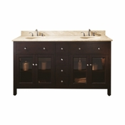 Avanity Lexington 61 in. Double Vanity in Light Espresso Finish with Galala Beige Marble Top - LEXINGTON-VS60-LE-B