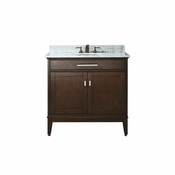 Avanity Madison 37 in. Vanity in Light Espresso Finish with Carrera White Marble Top - MADISON-VS36-LE-C