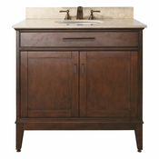 Avanity Madison 37 in. Vanity in Tobacco Finish with Galala Beige Marble Top - MADISON-VS36-TO-B