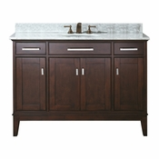 Avanity Madison 49 in. Vanity in Light Espresso Finish with Carrera White Marble Top - MADISON-VS48-LE-C