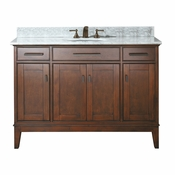 Avanity Madison 49 in. Vanity in Tobacco Finish with Carrera White Marble Top - MADISON-VS48-TO-C