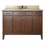Avanity Madison 49 in. Vanity in Tobacco Finish with Galala Beige Marble Top - MADISON-VS48-TO-B
