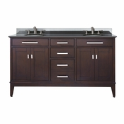 Avanity Madison 61 in. Double Vanity in Light Espresso Finish with Black Granite Top - MADISON-VS60-LE-A