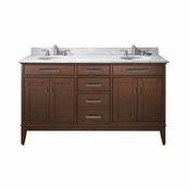 Avanity Madison 61 in. Double Vanity in Tobacco Finish with Carrera White Marble Top - MADISON-VS60-TO-C