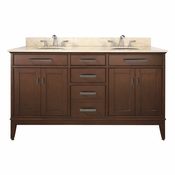 Avanity Madison 61 in. Double Vanity in Tobacco Finish with Galala Beige Marble Top - MADISON-VS60-TO-B