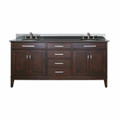 Avanity Madison 73 in. Double Vanity in Light Espresso Finish with Black Granite Top - MADISON-VS72-LE-A
