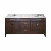 Avanity Madison 73 in. Double Vanity in Light Espresso Finish with Carrera White Marble Top - MADISON-VS72-LE-C