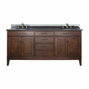 Avanity Madison 73 in. Double Vanity in Tobacco Finish with Black Granite Top - MADISON-VS72-TO-A