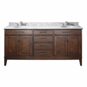 Avanity Madison 73 in. Double Vanity in Tobacco Finish with Carrera White Marble Top - MADISON-VS72-TO-C