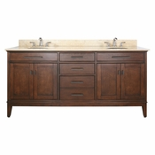 Avanity Madison 73 in. Double Vanity in Tobacco Finish with Galala Beige Marble Top - MADISON-VS72-TO-B