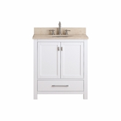 Avanity Modero 31 in. Vanity in White Finish with Galala Beige Marble Top - MODERO-VS30-WT-B