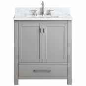 Avanity Modero 31 in. Vanity in Chilled Gray Finish with Carrera White Marble Top - MODERO-VS30-CG-C