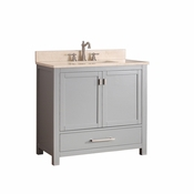 Avanity Modero 37 in. Vanity in Chilled Gray Finish with Galala Beige Marble Top - MODERO-VS36-CG-B