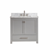 Avanity Modero 37 in. Vanity in Chilled Gray Finish with Carrera White Marble Top - MODERO-VS36-CG-C