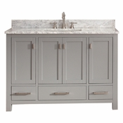 Avanity Modero 49 in. Vanity in Chilled Gray Finish with Carrera White Marble Top - MODERO-VS48-CG-C