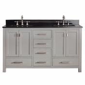 Avanity Modero 61 in. Double Vanity in Chilled Gray Finish with Black Granite Top - MODERO-VS60-CG-A