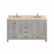 Avanity Modero 61 in. Double Vanity in Chilled Gray Finish with Galala Beige Marble Top - MODERO-VS60-CG-B
