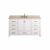 Avanity Modero 61 in. Double Vanity in White Finish with Galala Beige Marble Top - MODERO-VS60-WT-B