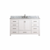 Avanity Modero 61 in. Double Vanity in White Finish with Carrera White Marble Top - MODERO-VS60-WT-C
