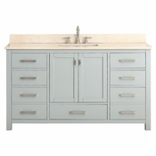 Avanity Modero 61 in. Single Vanity in Chilled Gray Finish with Galala Beige Marble Top - MODERO-VS60-CG-A-B