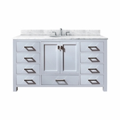 Avanity Modero 61 in. Single Vanity in White Finish with Carrera White Marble Top - MODERO-VS60-WT-A-C