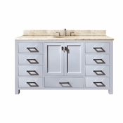 Avanity Modero 61 in. Single Vanity in White Finish with Galala Beige Marble Top - MODERO-VS60-WT-A-B
