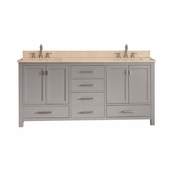 Avanity Modero 73 in. Double Vanity in Chilled Gray Finish with Galala Beige Marble Top - MODERO-VS72-CG-B