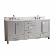 Avanity Modero 73 in. Double Vanity in Chilled Gray Finish with Carrera White Marble Top - MODERO-VS72-CG-C
