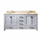 Avanity Modero 73 in. Double Vanity in White Finish with Galala Beige Marble Top - MODERO-VS72-WT-B
