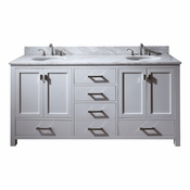 Avanity Modero 73 in. Double Vanity in White Finish with Carrera White Marble Top - MODERO-VS72-WT-C