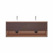Avanity Sonoma 63 in. Wall Mounted Double Vanity in Iron Wood Finish with Integrated Vitreous China Top - SONOMA-VS63-IW